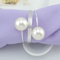 New Shiny White Round Imitation Pearls Napkin Rings for wedd...