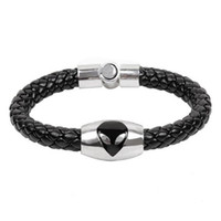 Edelstahl Schwarz Leder Armband Snaps Für Männer Alien Anhänger Weave Magic Magnetische Schnalle Armbänder Schmuck Zubehör