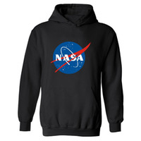 Wholesale- XXL NASA Hoodie Streetwear Hip Hop Black Hooded Ho...