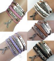 Atacado-Drop Shipping Prata esperança, fé, acredito Pink Ribbon Breast Cancer Consciência Charm Bracelet Handmade Pulseiras De Couro Das Mulheres