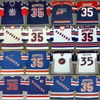 Hommes Custom Retro 35 Mike Richter Jersey USA 1998 2002 New York Rangers 1990 1991 1991 1998 1998 Jersey