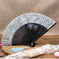 Vestito operato dal costume cinese Costume da ballo del partito di nozze che piega il ventilatore di mano piegante nero Trasporto libero ZA3340