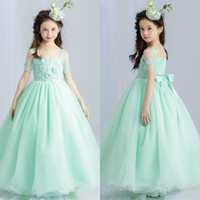 Lovely 2017 Mint Green Organza Princess Flower Girls Dresses...