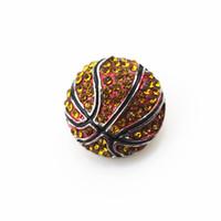 Venda quente 10 pçs / lote de cristal de basquete De Metal basquete botões de pressão DIY 18mm Snap Colar PulseiraBangles DIY Jóias Snap Encantos
