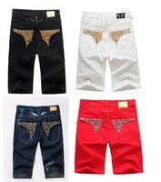 Famous Men Jeans Robin Short Jeans Pantalones Gold Metal Wing Robins Jeans de diamante para hombre Diseñador Pantalón para hombre