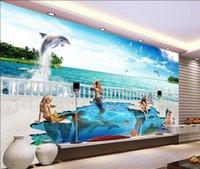 3D волшебный мир сказки русалка Дельфин ТВ фоне стены 3D волшебный мир сказки русалка Дельфин ТВ фоне стены