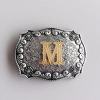 الرسالة الأولية M R S T W رعاة البقر الغربي رعاة البقر كبيرة الحجم حزام مشبك Gurtelschnalle بوكل دي ceinture BUCKLE-LE010 العلامة التجارية الجديدة