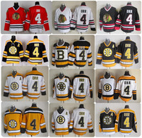 Bobby Orr Boston Bruins 시카고 BlackHawks Hockey Jerseys 빈티지 CCM # 4 Bobby Orr Bruins 레이스 스티치 저렴한 저지 패치