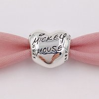 2 스타일 925 실버 비즈 MIKY 마우스 서명 매력이 유럽 판도라 스타일의 쥬얼리 팔찌 목걸이 7501057370325P