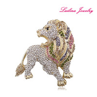100pcs / lot Mode Multicolore Puissant Lion Strass Broche Broches Cristal Faune Animal Broche Pour Les Femmes Robe