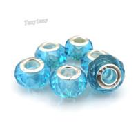 Grandes granos del agujero Fashion Lake azul granos de cristal facetados europeos para pulsera DIY envío gratis 100pcs / lot