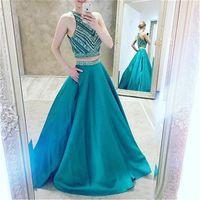 Crystals Turquoise Satin Elegant Long Evening Dresses Due pezzi di cristalli Prom Dresses con Pocket Vestidos De Noite Longos