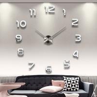 Toptan-2016 Yeni 3D Ev Dekor Kuvars DIY Modern Çerçevesiz Büyük Duvar Saati Horloge Izle Oturma Odası Metal Akrilik Ayna Saatler
