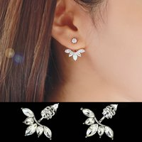 Leaf Crystals Stud Earring for Women Silver color Double Sid...