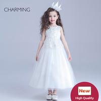 Glitz vestidos de los concursos de belleza de diseño para niños Blanco cuello redondo de la decoración de la correa larga sección Crepe telas falda de la burbuja