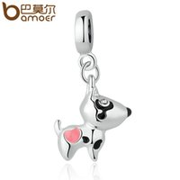 Wholesale- BAMOER Silver Plated Pink Heart Dog Animal Pendan...