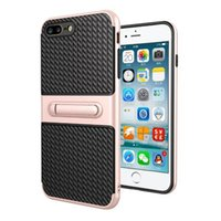 Pour iphone 7 / 7Plus / 6 6s / Plus / se 5 5s / Galaxy s7 / bord / (J5, J2, J7) Prime / S6 / Plus Kickstand coffre PC + TPU Hybrid Case Peau antichoc