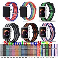 Casual Style Colorful Rainbow Nylon Woven Watch Band Strap B...