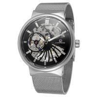 Nuovi arrivi Forsining degli uomini di marca Hollow orologio meccanico automatico orologi da uomo catena cinturino in maglia casual tavolo