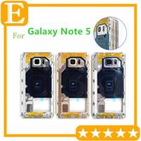 Samsung Galaxy Note 5 N920 N920V N920F VS N920T N920P N920A Orta Çerçeve Metal Geri konut şasi Kamera Lens için 10 Ad Orta Çerçeve