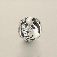 حقيقي 925 الفضة الاسترليني حول العالم سحر الخرز صالح لأسلوب سوار المرأة الأزياء والمجوهرات