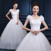 Cheap Lace Ivory Wedding Dresses Under 100 In Stock V Neck F...