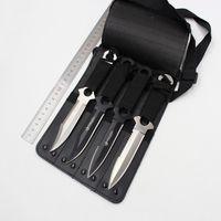 Buceo recto exterior supervivencia cuchillo leggings pequeño cuchillo recto exterior portátil cuchillo piscina 4 unids conjunto con funda de cuero al por mayor