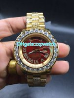 Large stone diamond watchcase gold watches case red dial wat...