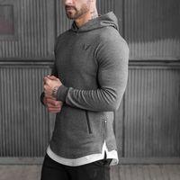 Atacado- 2016 novos homens Chegada Long Hoodies Pullovers com capuz Casual Sweatershirt Vestuário de Fitness Homens Moletom Com Capuz Muscle Coat