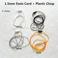 Cable de satén al por mayor-20pcs de 1.5 mm con cierres de plástico para el escape de silicona collar colgante de dentición del chupete