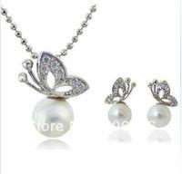Родий серебро белый жемчуг и ясно горный хрусталь Кристалл красивая бабочка падение ожерелье и серьги ювелирные наборы