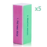 Großhandel-5 Teile / los Schleifen Nagelfeile Pufferblock für UV Gel Nagellack Nagelkunstwerkzeuge Maniküre Pediküre 4-wege Schleifblock kalk eine ong