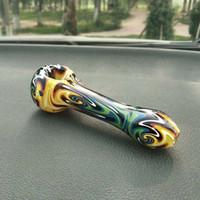 Hermoso coloridos Tubos de vidrio grueso de la mano de cristal Embriagador fumar tabaco Cuchara de tuberías de alta calidad del envío