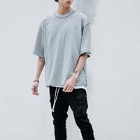 homens de roupas estilo T streetwear camisas Homem atacado- T Extensão tee homme hip hop camisa de grandes dimensões branco / cinza / preto T meia manga