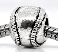 Antiek Zilver Tone Metalen Honkbal / Softbal Charm Beads Past Europese Armband 11x9mm Sieraden Bevindingen 20pcs