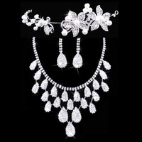 Twinkling Floral Bridal Crown Necklace Earrings Set Tiaras Bridal Jewelry Accessories Wedding Party Sets S002 Envío Gratis