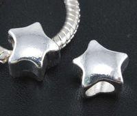 Vintage Prata Suave Estrela Pentagrama Spacer Beads Encantos Para Descobertas Jóias DIY Europeus Pulseiras Artesanato Acessórios 50 pcs Z441