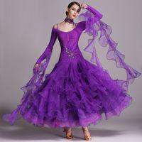 2018 neue 6 Farben Ballroom Dance Wettbewerb Tanzbekleidung Ballroom Walzer Kleider Standard Tanzkleid modernen Tanzkleid Foxtrott Tango