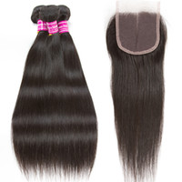 brazilian virgin hair wefts with closure 3 bundle human hair...