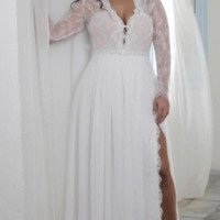 2020 Split Sheath Plunging V Neck Illusion Lace Long Sleeves Bridal Gowns Bohemian Boho Brides Formal Wear Cheap Plus Size Wedding Dresses