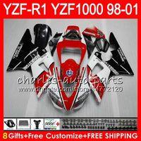 8Gift 23Color тела для Yamaha YZF1000 YZFR1 98 99 00 01 и YZF-Р1000 и YZF красный белый 61HM11 1000 р 1 и YZF-R1 и YZF R1 в 1998 1999 2000 2001 обтекатель