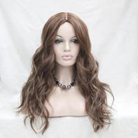 Ne pas couper la dentelle avant! 2017 Hot super mode plus réel beau mélange brun couleur ombre cheveux perruque synthétique