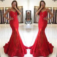Sirena Sexy Red Prom Dresses 2018 Nuevo diseño Sirena Spaghetti Straps con apliques de encaje Evening Party Gowns Desfile formal BA6685