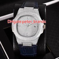 Automatic 2813 full iced out watch silver case with blue lea...