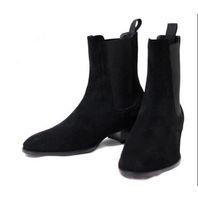 الرجال الجلد المدبوغ مارتن الأحذية وايت الجوارب الرجال مكدسة كعب الانزلاق على الأحذية الأزياء nubuck الجلود شيلس التمهيد الكاحل الرجال الأحذية