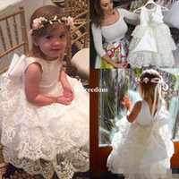 Princess White Flower Girls Dresses 2017 Bottom Lace A Line ...