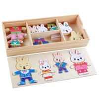 Cartoon Rabbit Bear Change Clothes Wooden Toy Puzzle Montess...