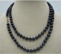 """35 """"8-7mm collana di perle naturali blu del mare del sud nero fermaglio in oro giallo 14k"""