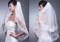 뜨거운 판매 재고 우아한 흰색 웨딩 신부 베일 2T 웨딩 드레스 자수 가장자리 새로운