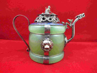Chinois vieux tibétain argent dragon lion vert jade théière cloisonné couvercle de singe